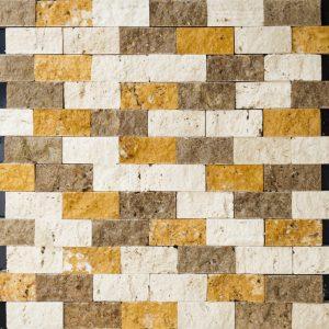 Mozaic Travertin - Classic Noce Yellow - Cioplit 2,3 x 4,8 x 1 cm