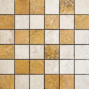 Mozaic Travertin - Classic Yellow - Lustruit 4,8 x 4,8 x 1 cm