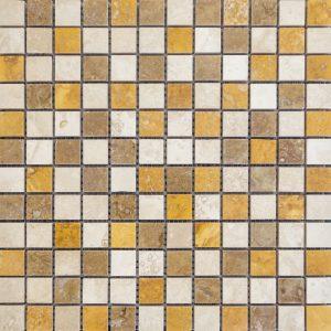 Mozaic Travertin - Classic_Noce_Yellow Lustruit - 2,3 x 2,3 x 1 cm