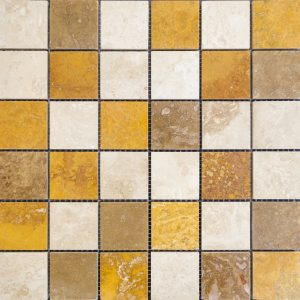 Mozaic Travertin - Classic_Noce_Yellow - Lustruit - 4,8 x 4,8 x 1 cm