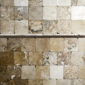 Placi Travertin - Classic Rustic - Slefuit Chituit - 10 x 10 x 1 cm