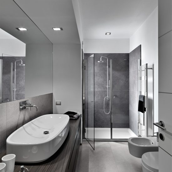 shower cubicle and washbasin in a modern bathroom with wood floor