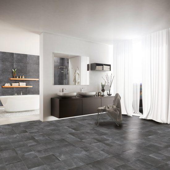 Shoot of modern minimalist spa-like bathroom. Render image.