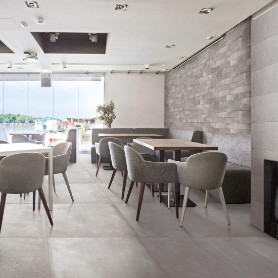 Interior of an elegant riverside cafe